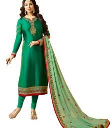 Green  Resham Work,Lace Work & Diamond Stone Work Churidar Salwar Kameez ayesha-takia-salwar-kameez