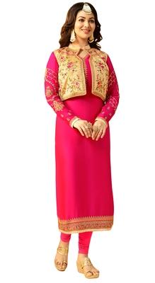 Magenta  Rsham Work,Lace Work & Stone Work Koti Style Churidar Salwar Kameez