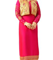 Magenta  Rsham Work,Lace Work & Stone Work Koti Style Churidar Salwar Kameez ayesha-takia-salwar-kameez