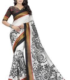 White printed bhagalpuri silk saree with blouse
