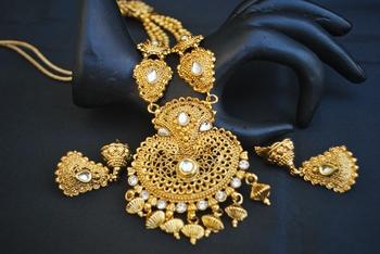 Reeti Fashions Indian Traditional Long Haram Stone Studded