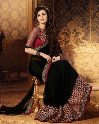 Black plain georgette saree with blouse