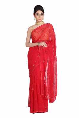 Red embroidered pure chiffon saree with blouse