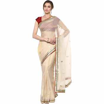 Beige embroidered tissue saree with blouse