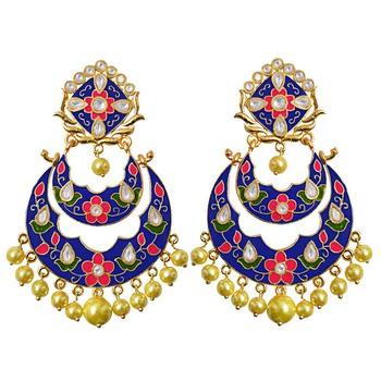 Kundan meenakari double layer gold plated chand bali brass danglers earring set-661