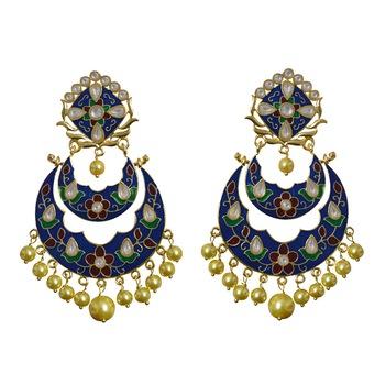Kundan Meenakari Double Layer Gold Plated Chand Bali Brass Danglers Earring Set