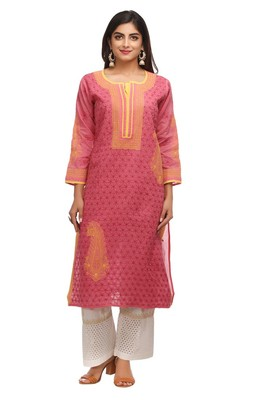 Magenta Embroidered Cotton Chikankari Kurti