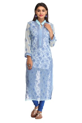 Light Blue Embroidered Faux Georgette Chikankari Kurti