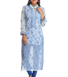 Light blue embroidered faux georgette chikankari-kurtis