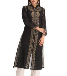 Buy Black embroidered cotton chikankari-kurtis chikankari-kurtis online