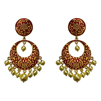 Meenakari red kundan single color gold plated brass dangler earring set-696