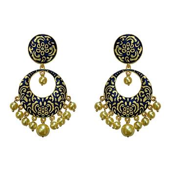 Meenakari Blue Kundan Single Color Gold Plated Brass Dangler Earring Set