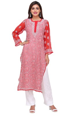 Red embroidered faux georgette chikankari-kurtis