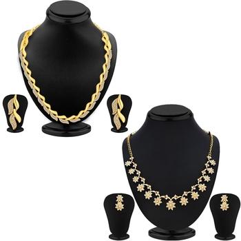 Sukkhi Modish AD Gold Plated Necklace Set Combo (Set of 2)