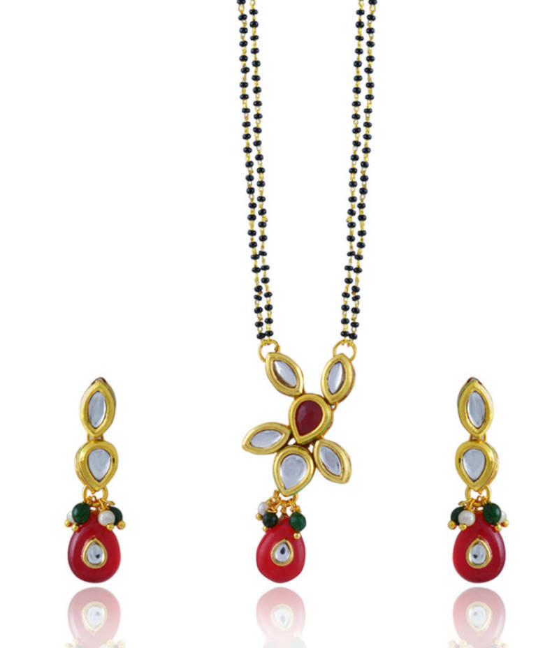 Indian Gold Plated Mangalsutra Chain Black Beads Wedding Necklace Chain Jewelry