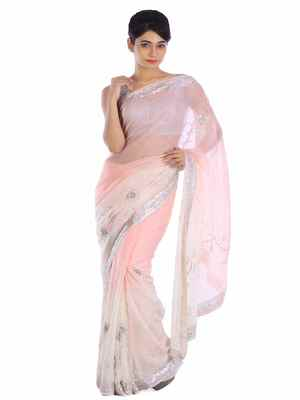 21c8d6032f754e Baby pink embroidered pure georgette saree with blouse - Geroo - 2454593