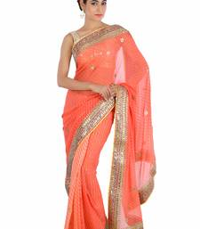 Buy Orange embroidered pure georgette saree with blouse bridal-saree online