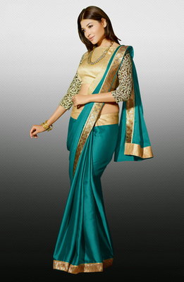 Green Zari Resham Embroidery Butti With Lace Border Satin Designer Saree With Blouse