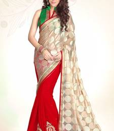 Buy Beige Red Embroidered Brasso Party Wear Saree With Blouse Piece party-wear-saree online