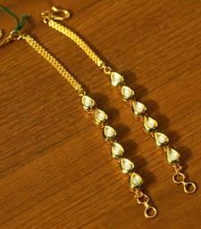 Pear Shaped Kundan Meenakari Gold Plated Ear Chains