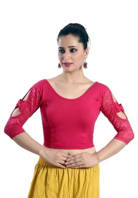 Pink Lycra_Cotton Plain Stitched Blouse