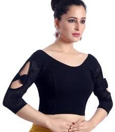 navy_blue lycra_cotton plain stitched blouse