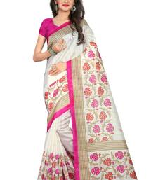 Buy White Printed bhagalpuri silk saree with blouse women-ethnic-wear online