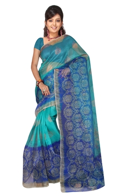 Blue Printed saree with blouse