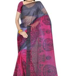 Buy Grey Printed saree with blouse tissue-saree online
