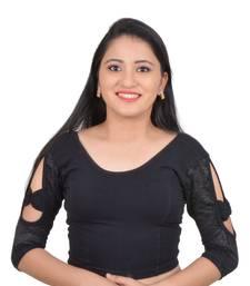Black Bow sleeve Stretchable Cotton Lycra Saree Blouse