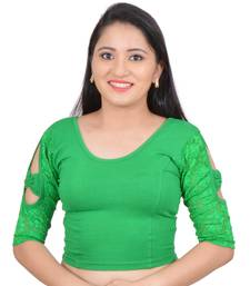 Green Bow sleeve Stretchable Cotton Lycra Saree Blouse