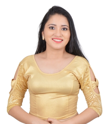 Gold Bow sleeve Stretchable Cotton Lycra Saree Blouse