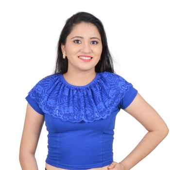 Royal Blue Ruffle Neck Stretchable Cotton Lycra Saree Blouse