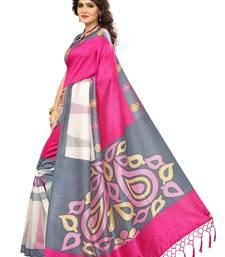 Buy Multicolor Printed art silk saree with blouse art-silk-saree online