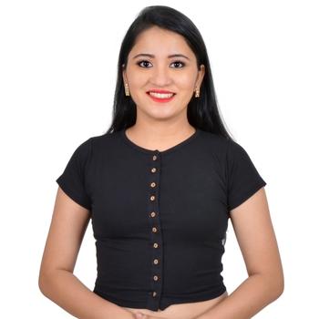 Black High Neck Stretchable Front Button Cotton Lycra Saree Blouse