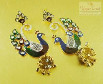 Peacock Meena Zircone Polki Dangler Earrings