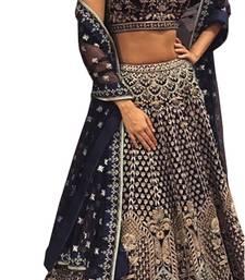 Buy Black embroidered silk unstitched lehenga bridal-lehenga online