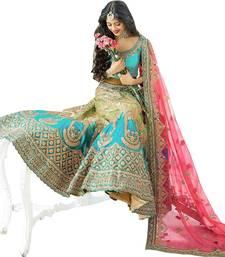 Buy Cyan embroidered cotton silk unstitched lehenga bridal-lehenga online