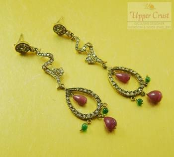 Antique Victorian Style Zircon Dangle Earrings