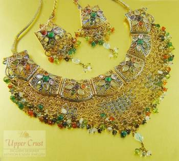 Multi Polki Bridal Choker Necklace Tikka Set