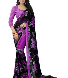 Buy Violet printed georgette saree with blouse great-indian-saree-festival online