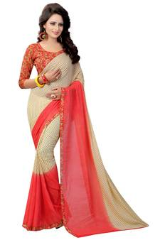 fb849d4d1aeb7 Red printed georgette saree with blouse