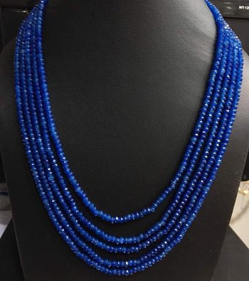 Blue Onyx Stones Five Line Multistrand Necklace