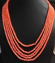 Buy orange onyx stones five line multistrand necklace Necklace online