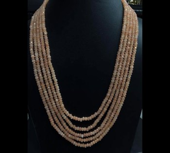 Brown Onyx Stones Five Line Multistrand Necklace