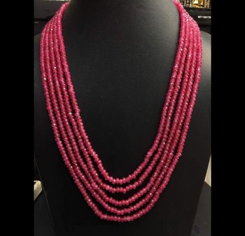 pink onyx stones five line multistrand necklace