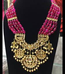 Buy gold plated kundan and red onyx chaand necklace Necklace online