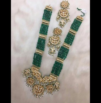 Gold Plated Kundan And Shell Pearls With Green Onyx Chaand Multistring Long Necklace