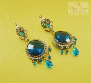 Blue Antique Victorian AD CZ Earrings