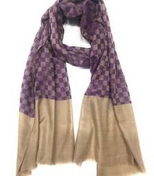 Buy Purple Wool jacquard Pashmina shawl shawl online